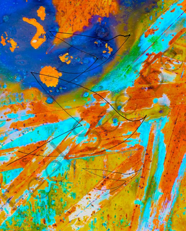 Fire grass birds- Feel See Be. Spiritual cooper art in Oxford